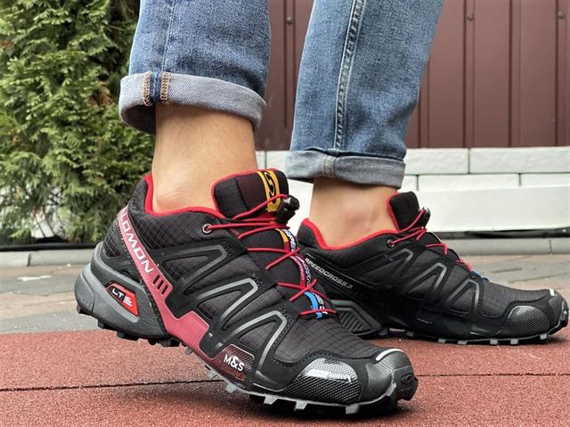 Salomon Speedcross 3 демисезонные мужские кроссовки в стиле Саломон черные с бордовым