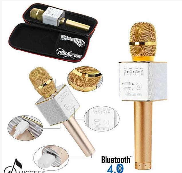 Детский bluetooth микрофон светящийся Q9 Plus Беспроводной Микрофон караоке колонка 2 в 1 в футляре Золотой
