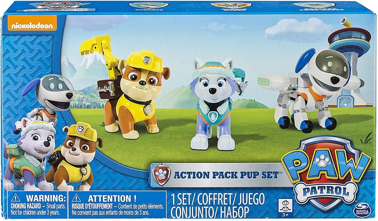 Nickelodeon Paw Patrol Щенячий патруль Эверест, Крепыш и Робопес Pups Everest, Robodog, Rubble Action Pack