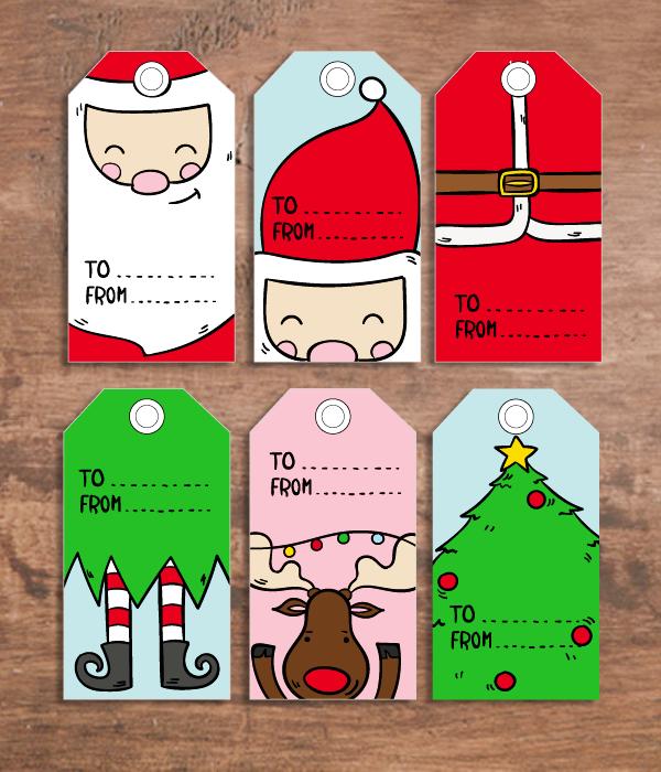 Набор детских новогодних ярлычков для подарков (6 шт.)