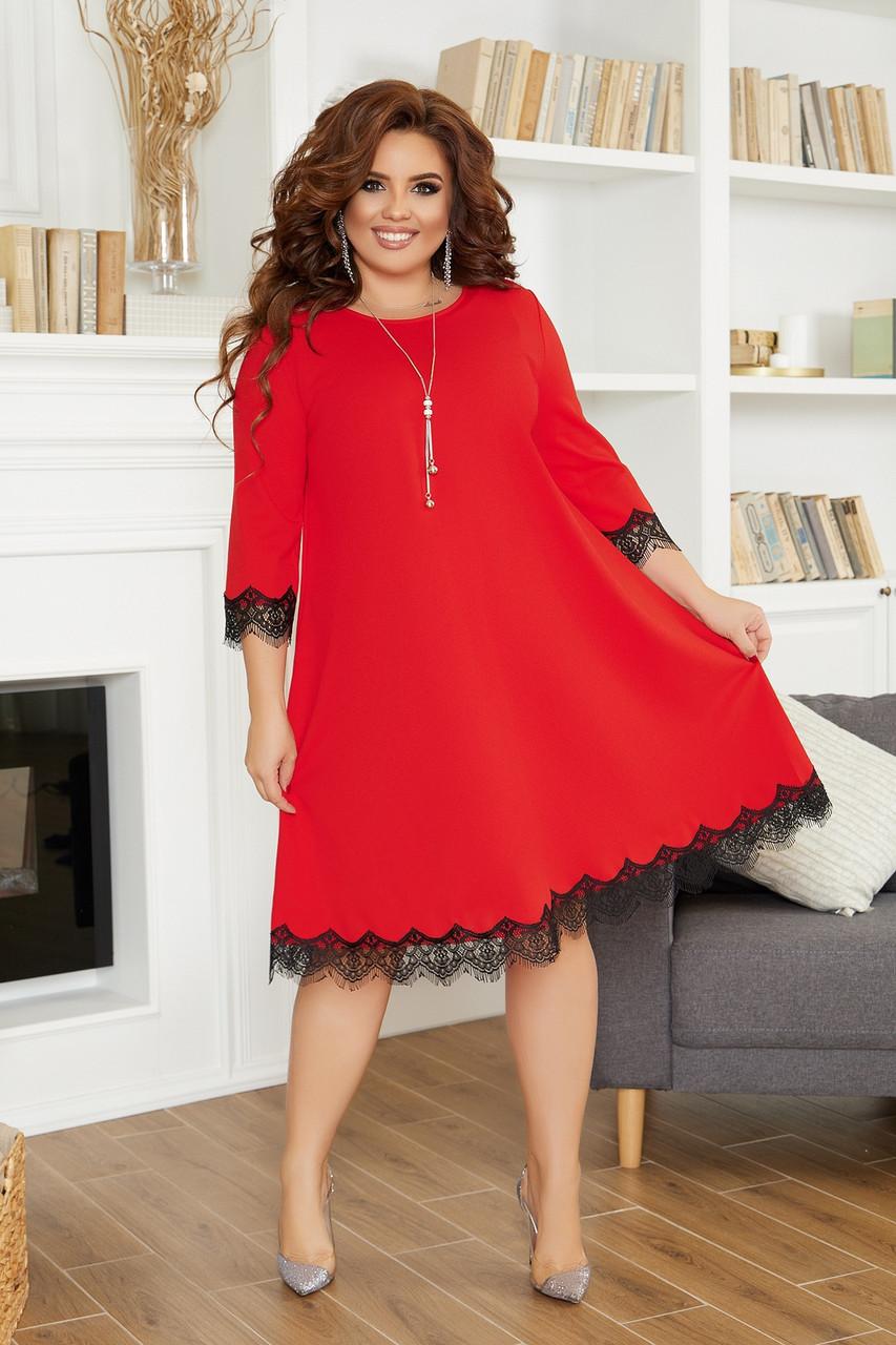 Просторное платье разлетайка с кружевной отделкой по подолу и рукавах, батал большие размеры