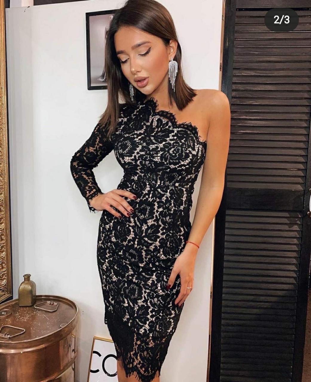 Вечернее черное платье на одно плечо, Новый Год 2021, будьте неотразимы! р.44-46 Код 245Т