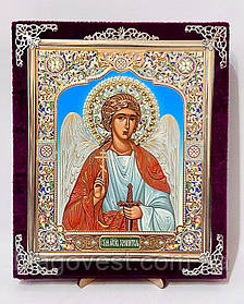 Икона С бархат 15х18 с украшениями керамика