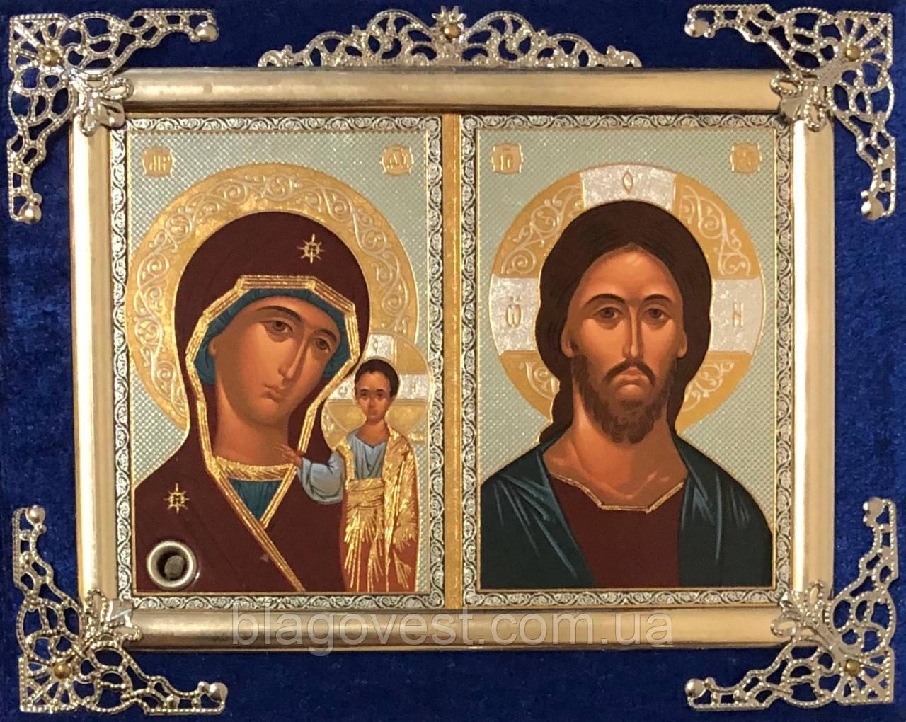 Икона бархат двойная с украшением 15х12см