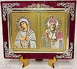 Икона бархат двойная с украшением 15х12см, фото 2