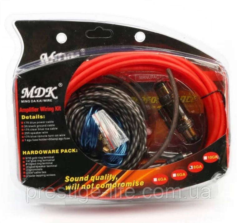 Набор проводов для установки сабвуфера MDK 8GA (5м) Набор кабелей для автоакустики