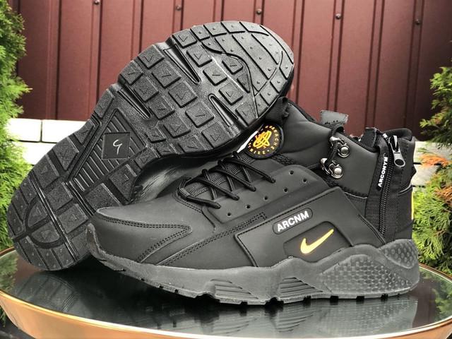 Зимние мужские кроссовки Nike Huarache (кожа нубук кроссовки в стиле Найк)