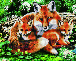 Алмазная картина-раскраска Рыжая лиса с лисятами 40х50 см в коробке, BrushMe (GZS1054)