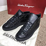 Balenciaga Arena Crocodile High Top Sneakers Black, фото 2