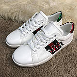 Gucci Snake Embroidered Sneaker White, фото 3