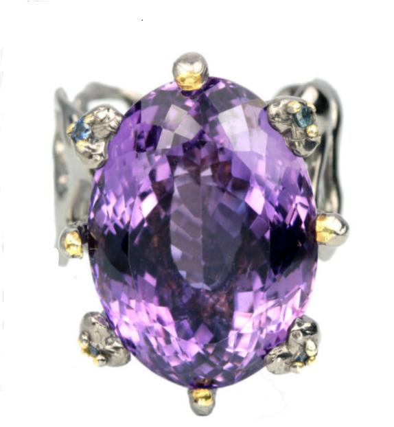 Серебряное кольцо с натуральным аметистом р18
