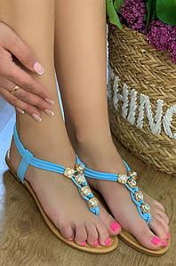 Босоножки женские голубые AAA 118331P