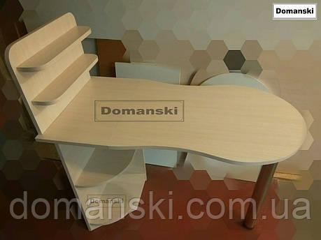 Маникюрный стол цвет дуб молочный. Стол для маникюра раскладной с полками для лаков., фото 2