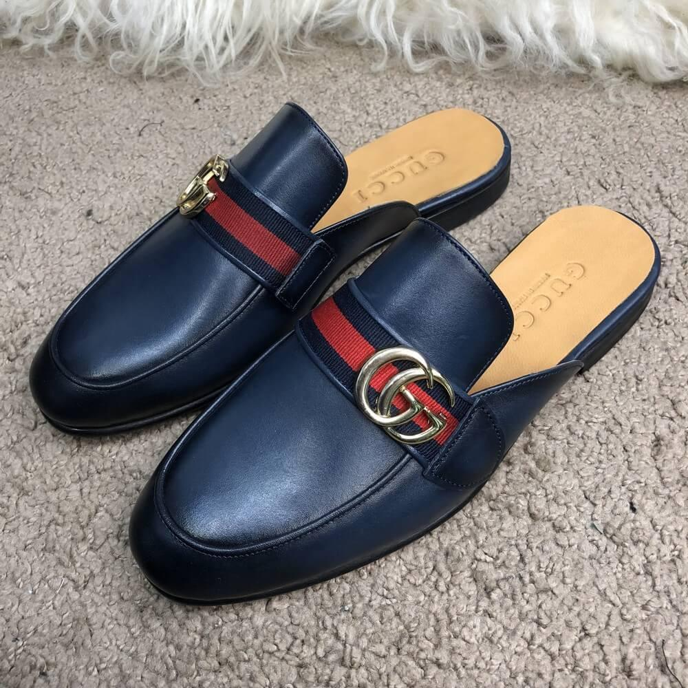 Gucci Princetown Leather Slipper with Double G Blue