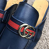 Gucci Princetown Leather Slipper with Double G Blue, фото 2
