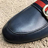 Gucci Princetown Leather Slipper with Double G Blue, фото 3