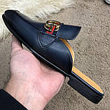 Gucci Princetown Leather Slipper with Double G Blue, фото 4