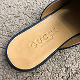 Gucci Princetown Leather Slipper with Double G Blue, фото 6