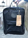 Модный рюкзак сумка канкен женский, для девочки Fjallraven Kanken No.2 черный с черными ручками 16 л., фото 2