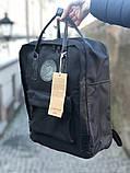 Модный рюкзак сумка канкен женский, для девочки Fjallraven Kanken No.2 черный с черными ручками 16 л., фото 4