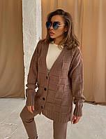Костюм повседневный вязаный женский с кардиганом на пуговицах и брюками (р. 42-58) 18KO1610