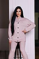 Жіночий в'язаний костюм з напівшерсті з подовженим сввободным светром (р. 42-46) 4101509, фото 1