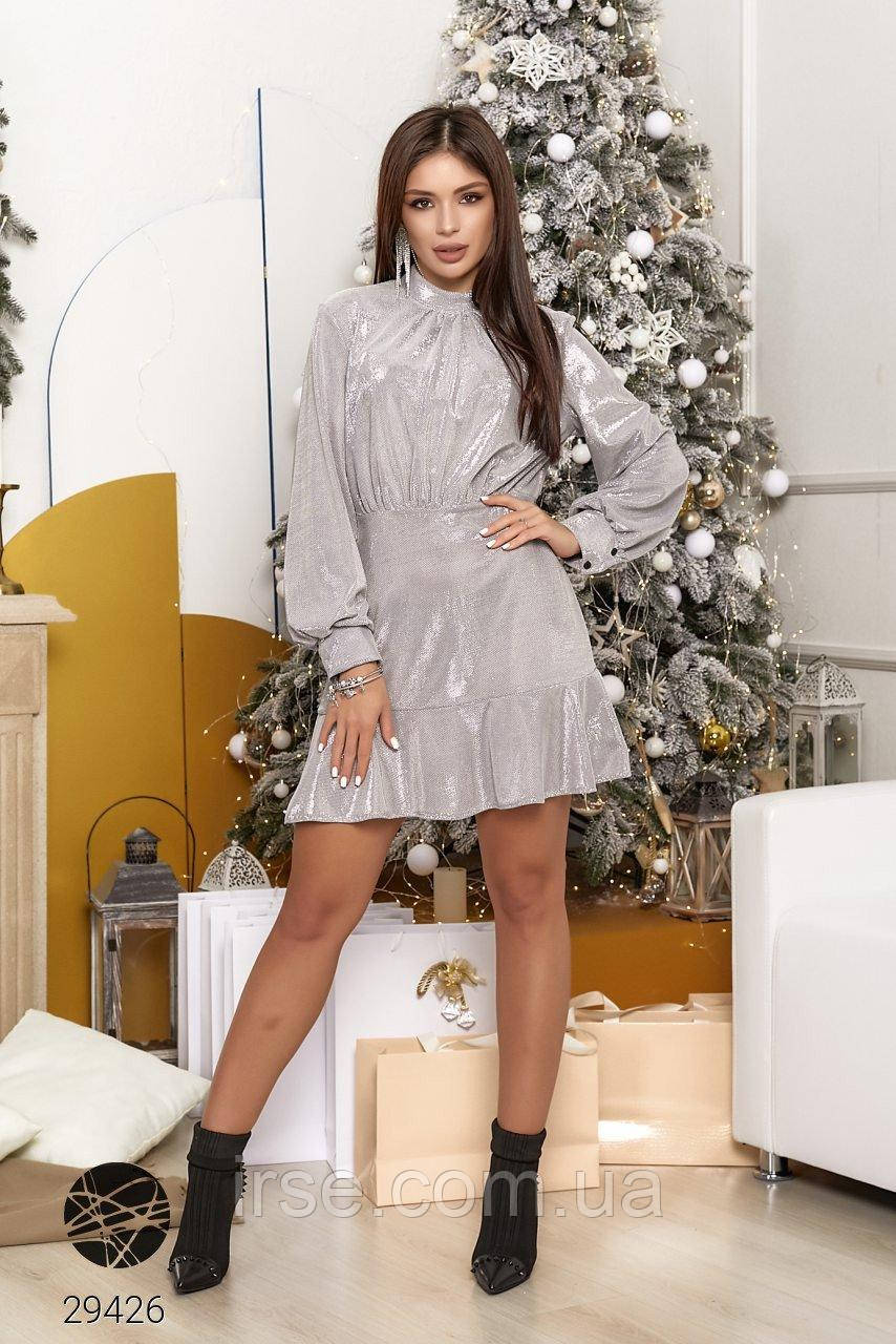 Платье вечернее короткое серебристого цвета. Модель 29426. Размеры 42-48