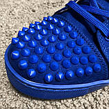 Christian Louboutin Louis Spikes Men's Flat Blue Suede, фото 5