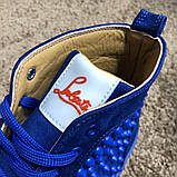 Christian Louboutin Louis Spikes Men's Flat Blue Suede, фото 6
