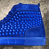 Christian Louboutin Louis Spikes Men's Flat Blue Suede, фото 8