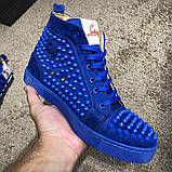 Christian Louboutin Louis Spikes Men's Flat Blue Suede, фото 10