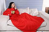 Плед с рукавами 180x150см из флиса красный, фото 4