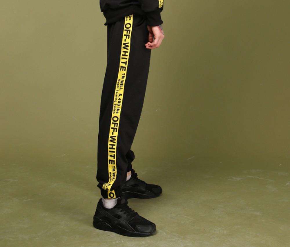 Штаны чёрные с жёлтым лампасом Off White