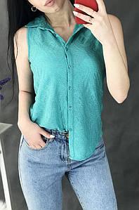 Блуза женская без рукавов бирюзовая 2540