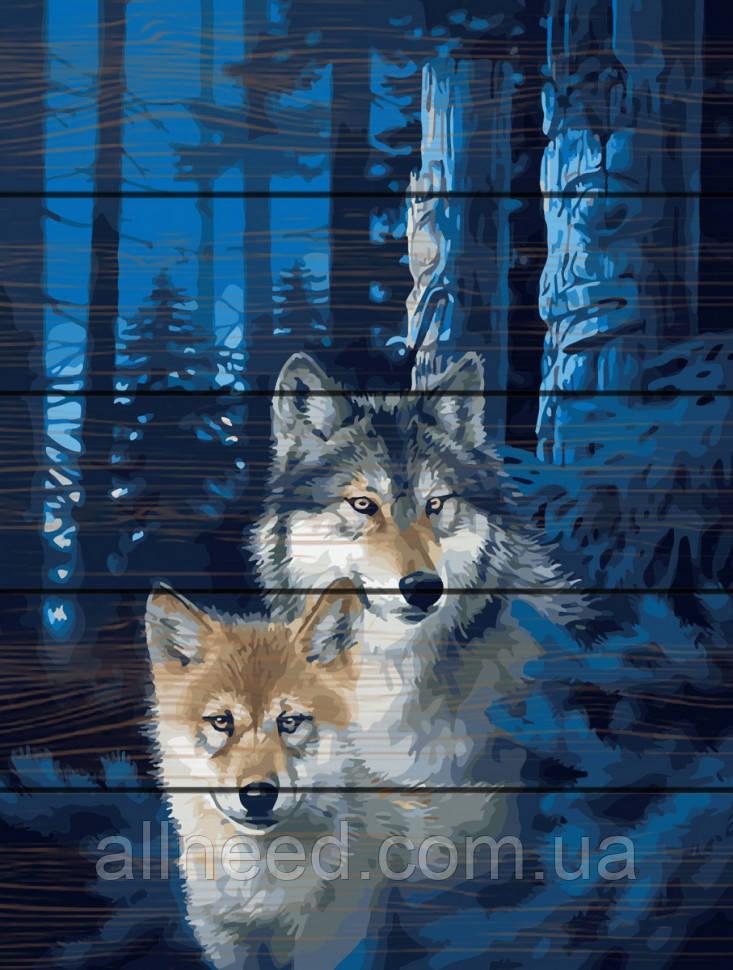 """Картина по номерам на дереве. Rainbow Art """"Ночные волки"""" GXT28852-RA"""