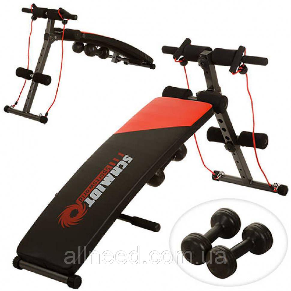 Тренажер для пресса и мышц спины, гантели, 2 эспандера