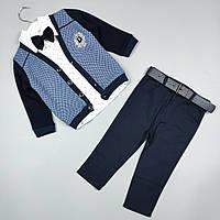 Костюм детский тройка нарядный оптом для мальчика 1-4 года синий Турция 2096, фото 1