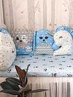 Комплект в кроватку с бортиками зверушками / комплект у дитяче ліжечко з бортиками звірятками