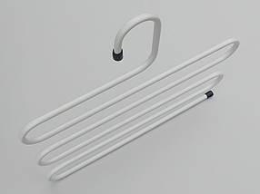 Плечики вешалки тремпеля для брюк  металлические белого цвета лестница 5-ти ярусная, длина 33 см, фото 3