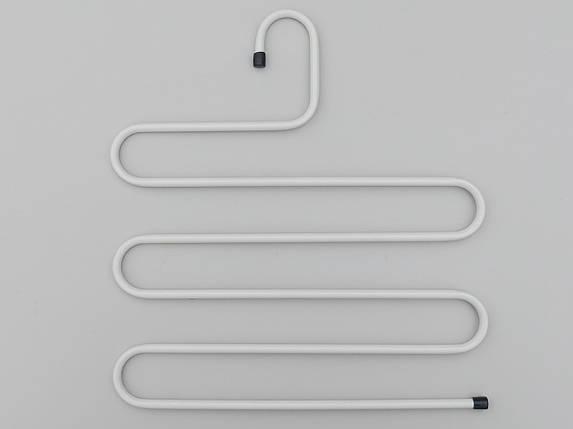 Плечики вешалки тремпеля для брюк  металлические белого цвета лестница 5-ти ярусная, длина 33 см, фото 2