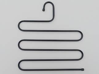 Плечики вешалки тремпеля для брюк  металлические черного цвета лестница 5-ти ярусная, длина 33 см