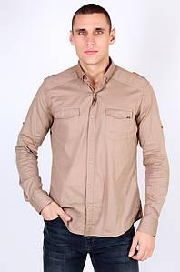 Рубашка мужская батальная светло-коричневая Well Done 123451P
