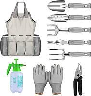Набор садовый Lesko CG-2015 Grey из 9 предметов с сумкой комплект садовых инструментов