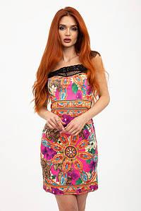 Сарафан женский гипюровая вставка оранжевый 2681