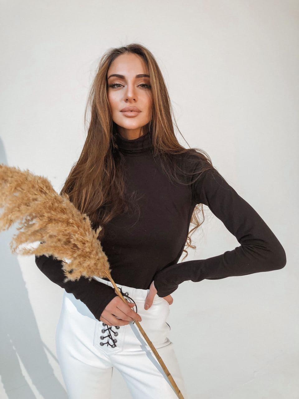 Боди - гольф женское базовое из хлопка с митенками с высоким воротником (р. единый 42-46) 58kap436