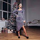 Платье вечернее облегающее с асимметрией внизу и декольте блестящее (р.S, M, L) 4plt1992, фото 7
