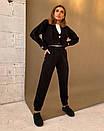 Костюм вязаный женский повседневный сукороченной кофтой на пуговицах и штанами (р. 42-58) 18kos1609, фото 6