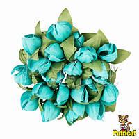 Тюльпаны аквамариновые 2 см диаметр Декоративный букетик 10 шт/уп