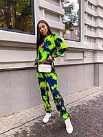 Женский брючный костюм двойка разноцветный со свитшотом и штанами на манжетах R21msp1437