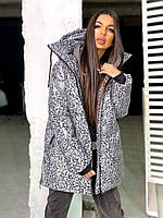 Жіноча зимова подовжена куртка на блискавці з об'ємним капюшоном (р. 42-46) 8401512, фото 1